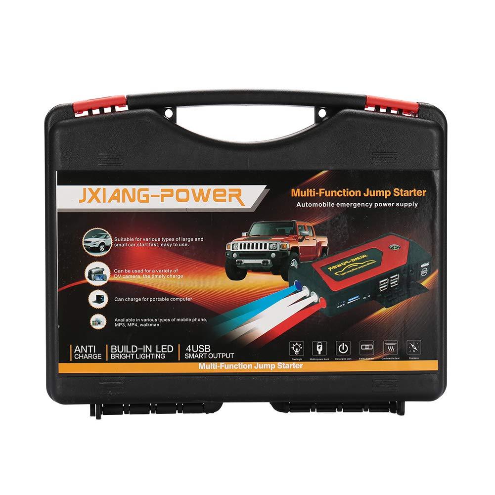 Portable Car Jump Starter Waterproof 12500Mah 4USB US//EU//UK//AU Plug 4LED Car Starter Emergency Battery Power Bank with Digital Screen-US/_ Black Green