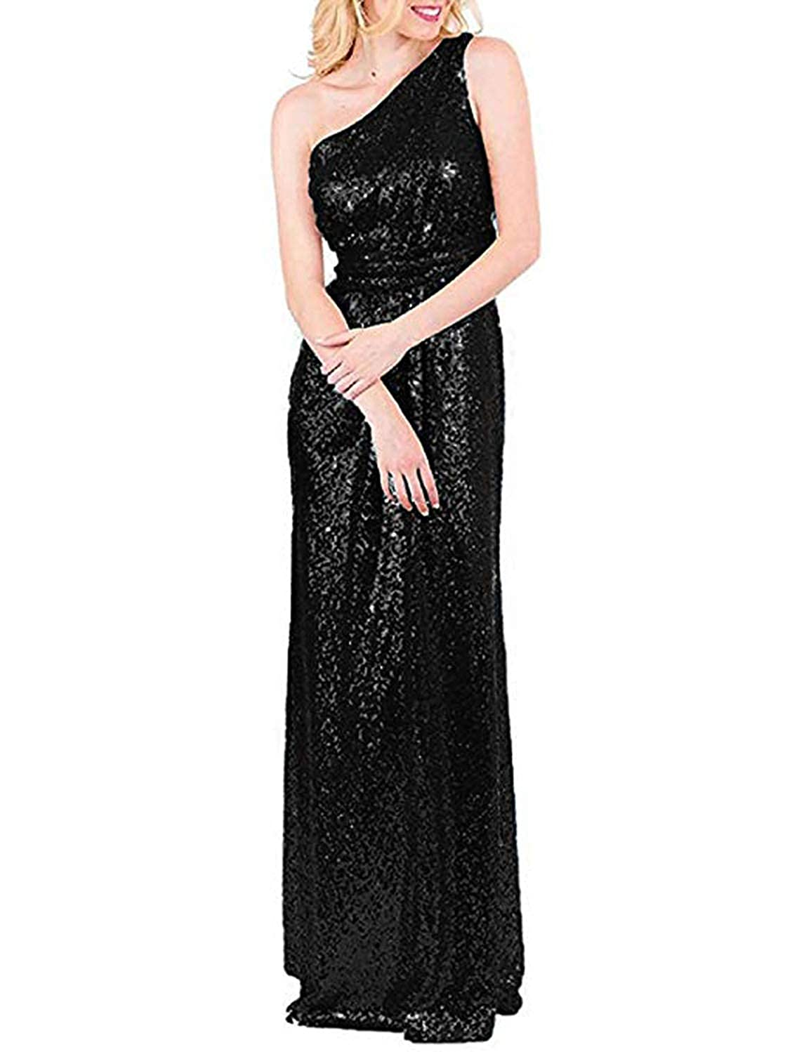 Black TTYbridal 2019 Sequins Bridesmaid Dress Long One Shoulder Formal Evening Gown B2