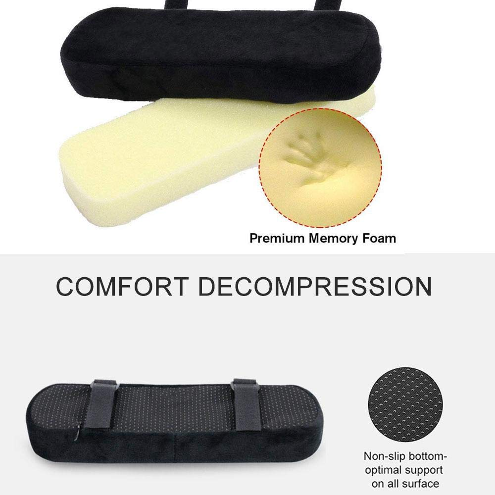 Wheelchair 2 Pcs Chair Armrest Pads Covers Built In Memory Foam,Soft And Comfortable Armrest Cushion Elbow Pillow For Forearm Pressure Relief,Arm Rest Cushion For Office Chairs Gaming Chair