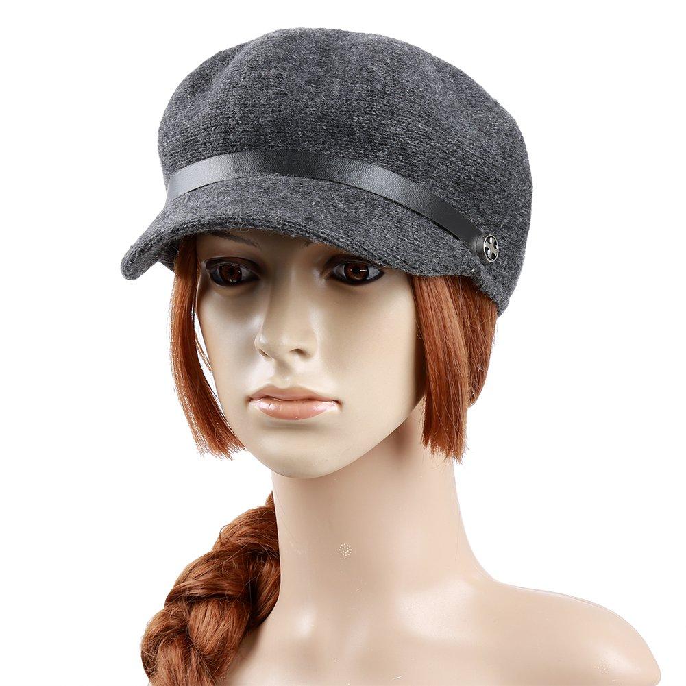 Vbiger Women Woolen Fedora Newboys Hat Visor Beret (Dark Grey) by VBIGER (Image #2)