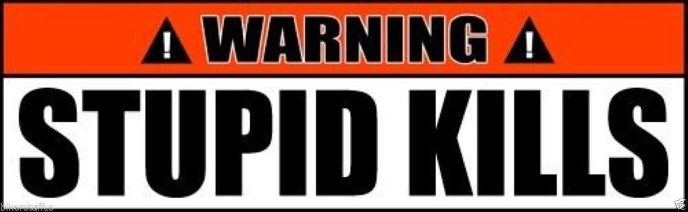 BIKERSTUFFUS Warning Stupid Kills Sticker Laptop Sticker Hard HAT Sticker Toolbox Sticker Helmet Sticker