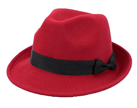 454e5a4a998 Image Unavailable. Image not available for. Color  East Majik Red Fedora Hat  Soft Comfortable Classical Cap