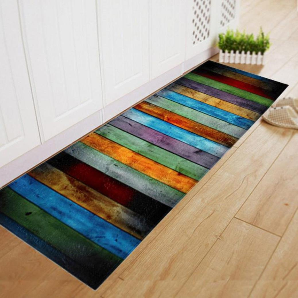Compia Colorful Plank Printing Retangle Polyester Anti-Skid Shaggy Soft Decoration Bedroom Kitchen Floor Mat Rubber Backing Runner Yoga Area Rug Doormat (40*60CM) Howyi Store