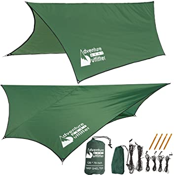 adventure gear outfitter hammock rain fly tent tarp strong ripstop nylon   includes everything you need amazon    adventure gear outfitter hammock rain fly tent tarp      rh   amazon