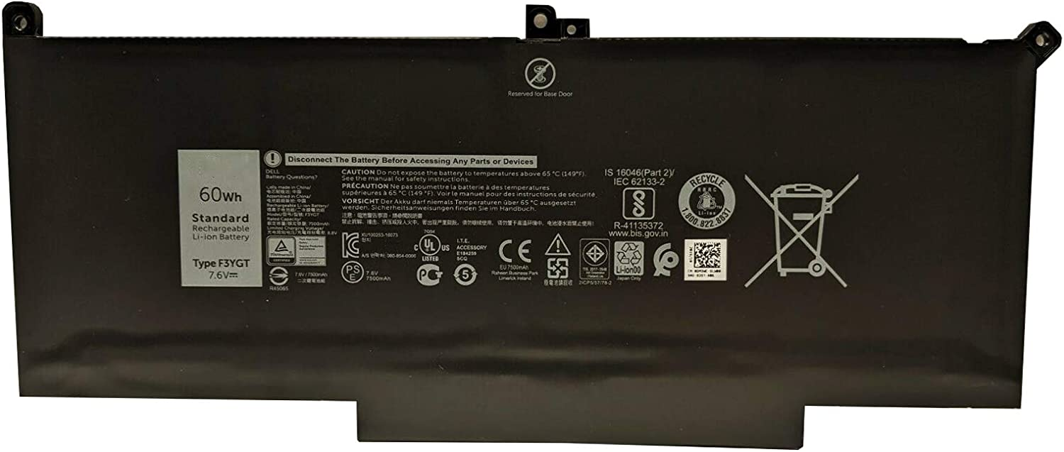 BOWEIRUI F3YGT Laptop Battery Replacement for Dell Latitude E7280 E7480 12 7000 7280 7480 Series 0DM3WC DM3WC 2X39G 7.6V 60Wh 7500mAh