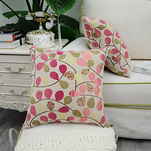 CaliTime Cushion Cover Throw Pillow Case Shell for Couch Sofa Home, Luxury Chenille Cute Leaves Both Sides, 18 X 18 Inches, Ecru Rose Pink