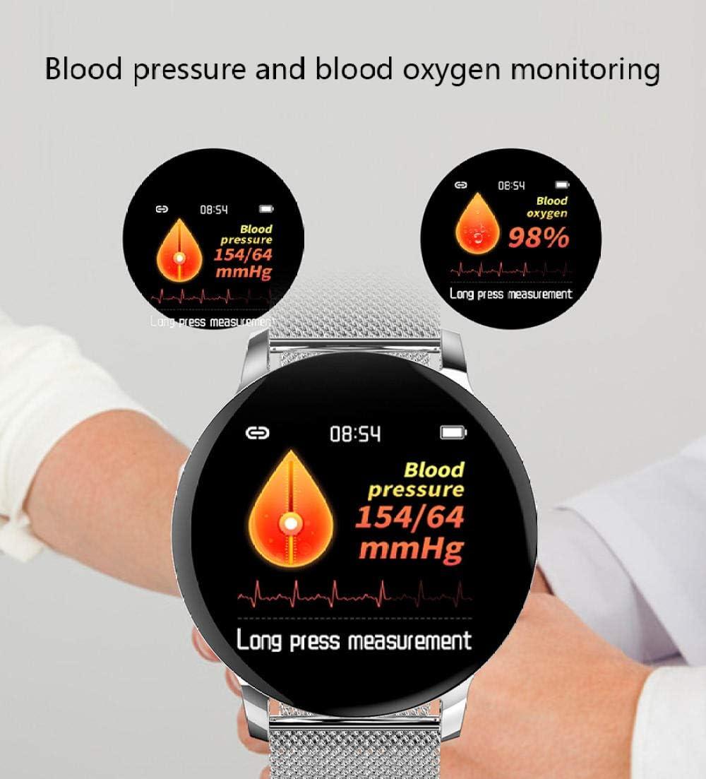 YCMTZ@ Orologio Intelligente, promemoria di Chiamata Bluetooth, conteggio dei Passi, monitoraggio della frequenza cardiaca del Sonno, Braccialetto Intelligente Silicone argento.