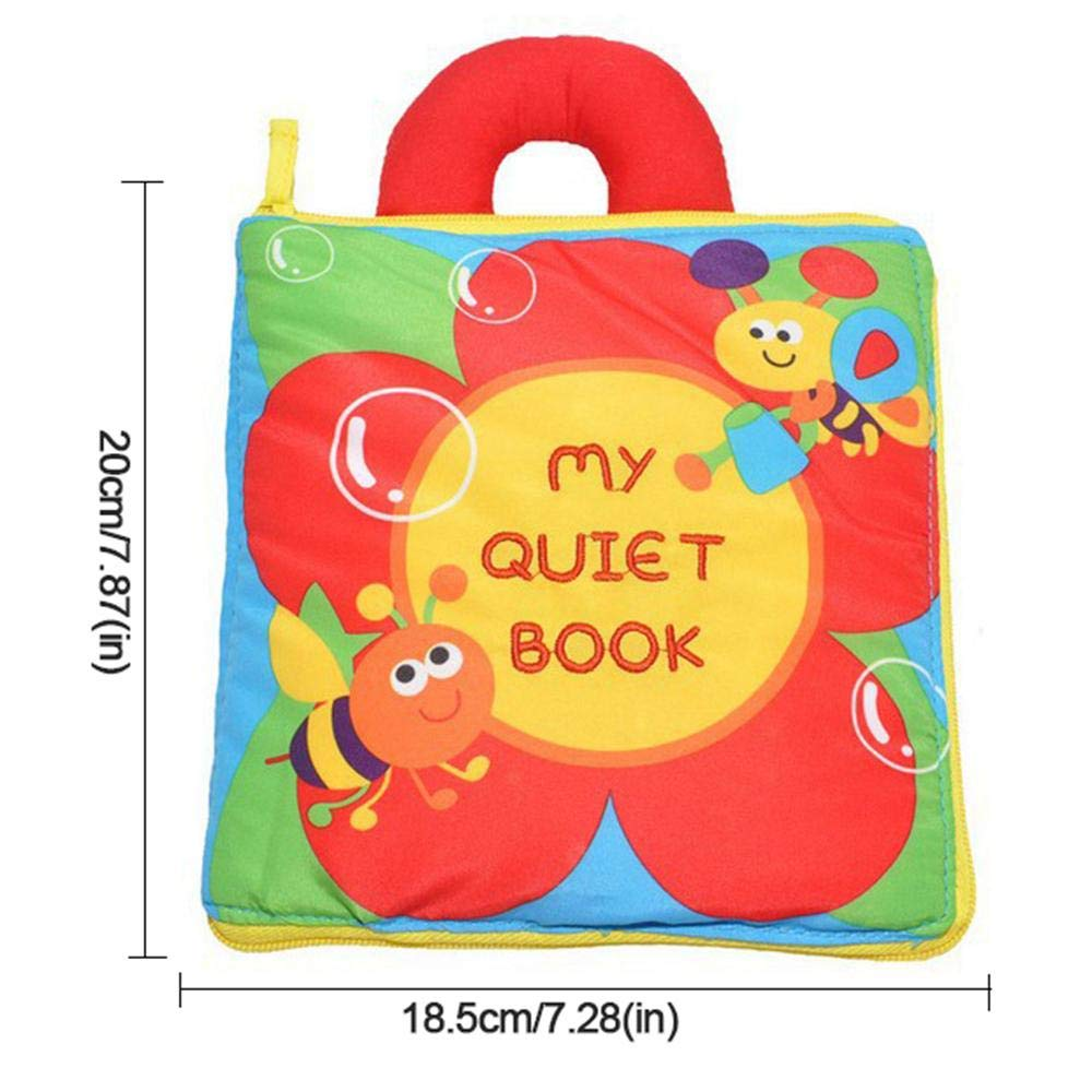 Montessori Lernbuch f/ür Kleinkinder Aktivit/ät multifunktionales dreidimensionales Lernspielzeug zur Erkennung von Zahlen rot Kleinkinder AOLVO Stoffbuch f/ür Baby-Puzzle leises Buch Stoffbuch