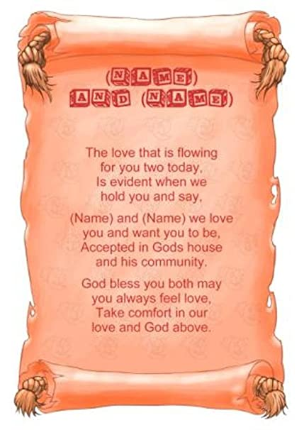 Personalised Poem Baby Twins (Christening) Gift Print: Amazon.co.uk: Kitchen & Home