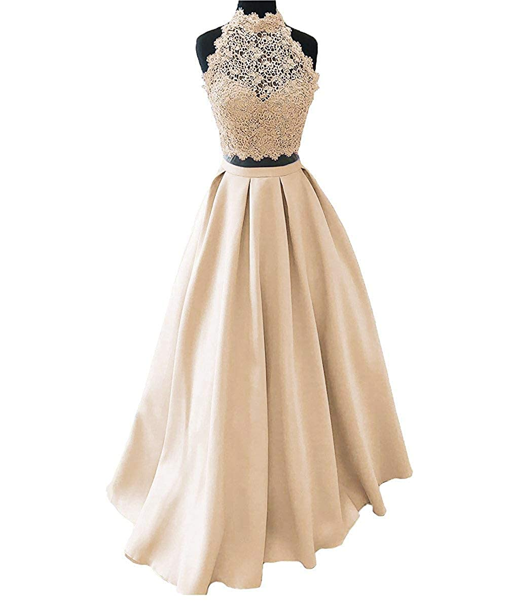 Champagne Ellenhouse Women's Long High Neck Two Pieces Prom Party Evening Dresses