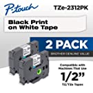 """Brother Genuine P-touch, TZE2312PK, 1/2"""" (0.47"""") Standard Laminated P-Touch Tape, Black on White, Laminated for Indoor or Outdoor Use, Water Resistant, 26.2 Feet (8M), 2-Pack"""