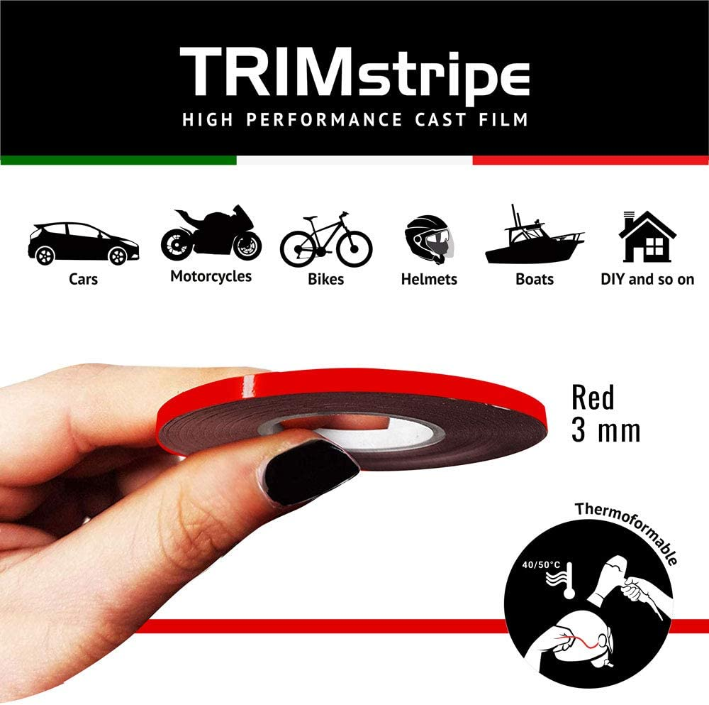 Red 4R Quattroerre.it 10453 Trim Stripes Adhesive Strips for Cars 3 mm x 10 mt