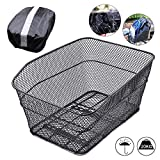 ANZOME Rear Bike Basket - Metal Wire Bicycle Cargo Rack Mount for Back Under Seat with Heavy Duty Reflective Black Waterproof Rainproof Cover