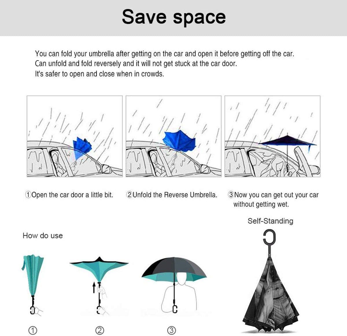 Game Borderlands Car Reverse Umbrella Windproof And Rainproof Double Folding Inverted Umbrella With C-Shaped Handle UV Protection Inverted Folding Umbrellas