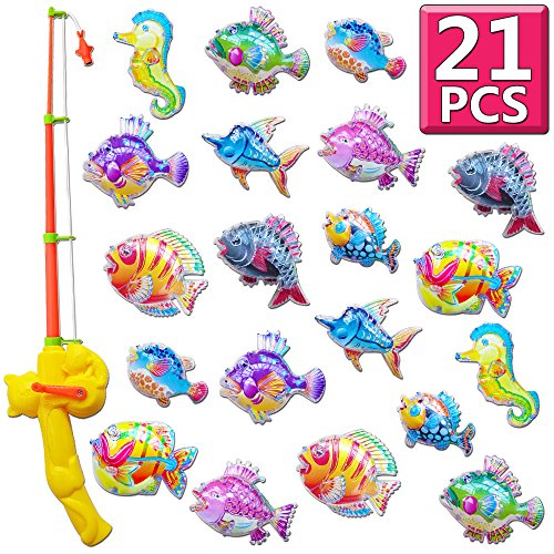 Bath Toy,Gudi Toy (21 pcs) Magnetic Fishing Games for Kids age 3 4 5,Fishing Floating Toy,Baby Shower Bathtime Bathtub Water Fun Toy in Bathroom Pools,Fishing Toys for Toddler Kid Baby Childrens Boys