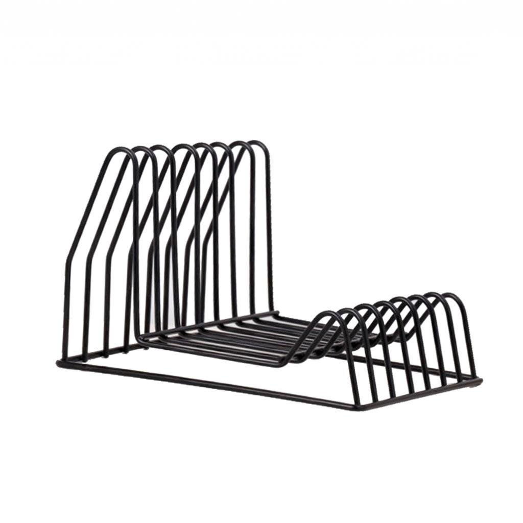 Fityle Nordic Style Triangle Iron Wire Magazine Rack Display Book Stand Bookshelf Office Desktop Decoration - B Black, as described