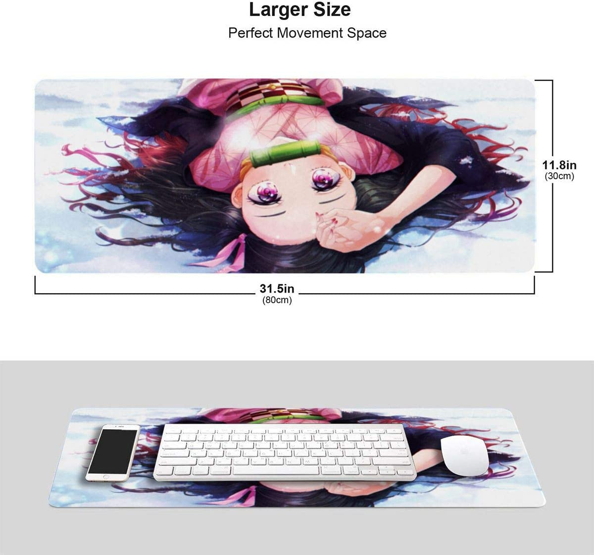 Nezuko Cute Kimetsu No Yaiba 11.8x31.5 in in-inch Large-Scale Competitive Game/&Office/&Console Mouse Pad