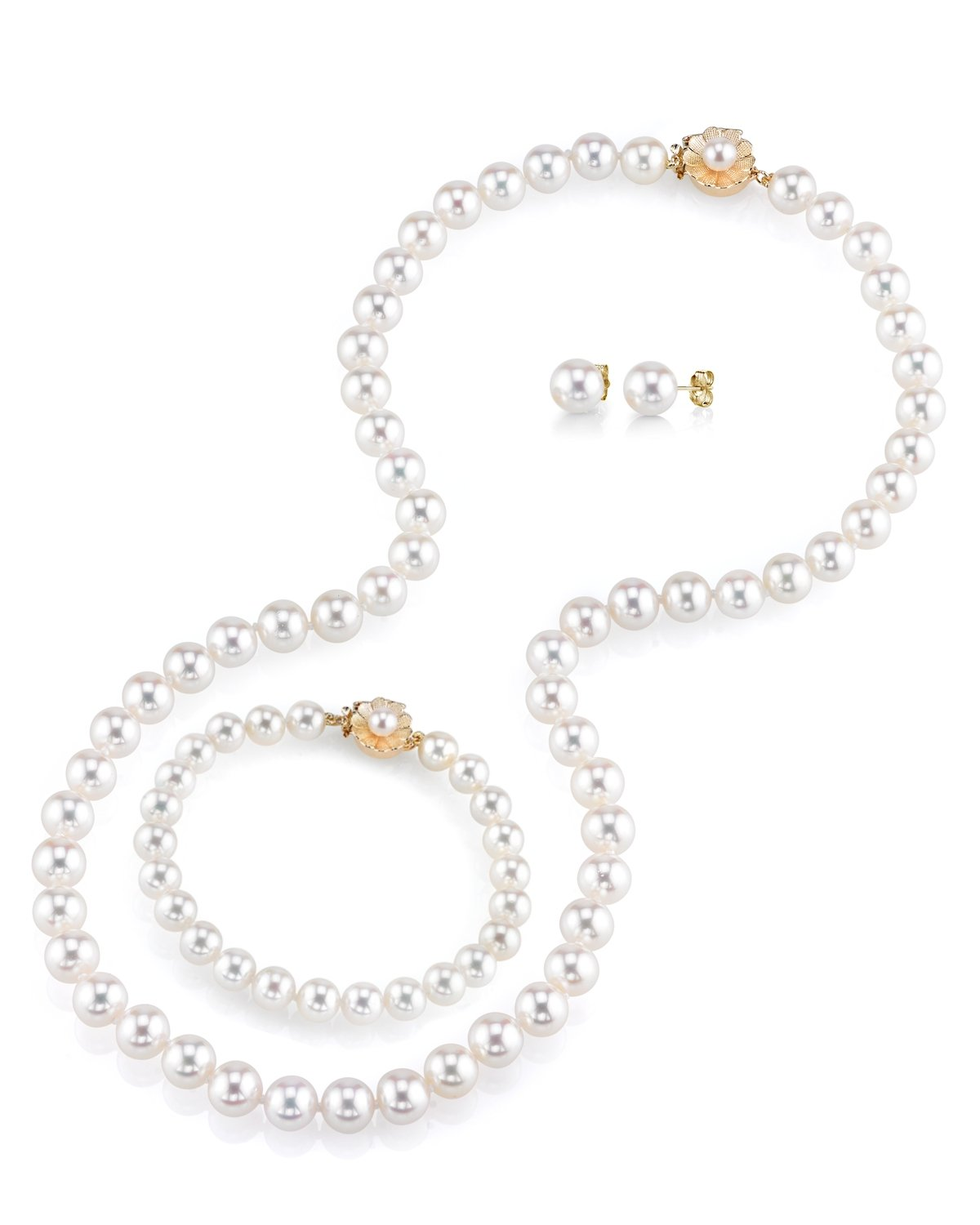 THE PEARL SOURCE AAAA Quality 8-9mm Round White Freshwater Cultured Pearl Necklace, Bracelet & Earrings Set with 14K Yellow Gold Flower Clasp for Women