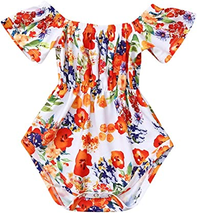 Fashion Toddler Baby Girl Off Shoulder Clothes Romper Bodysuit Sunsuit Outfit