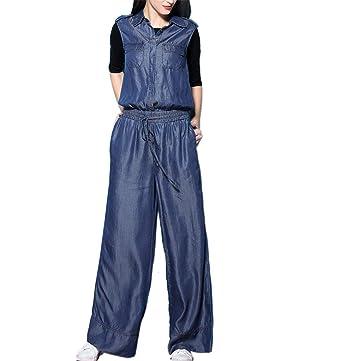 593ccc9b1b05 Amazon.com  Klorim Women s Sleeveless Wide Leg Lyocell Denim Jumpsuit   Clothing