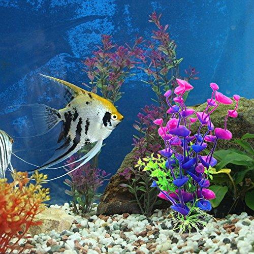 Homiki - Plantas de agua artificiales para acuario o pecera, decoración, plantas de plástico, adorno bajo el agua