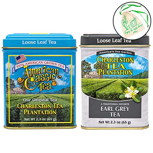Charleston Tea Plantation Loose Leaf Black Tea Set of 2 - American Classic Black, and Earl Grey in 2.3 oz Tins, with Drawstring ()