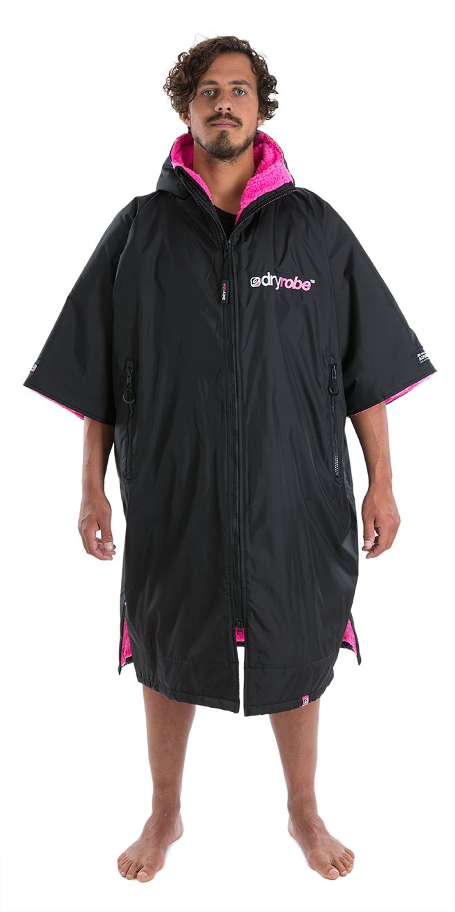 dryrobe Advance Adult Changing Robe - Short Sleeve Change Poncho/Dry Robe Large Black/Pink