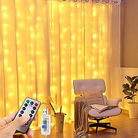 LED Lichterketten Vorhang, Nasharia 3M*3M 300 LED USB Fenster vorhang mit 8 Modi Fernbedienung IP65 Wasserdicht LED Lichtervo