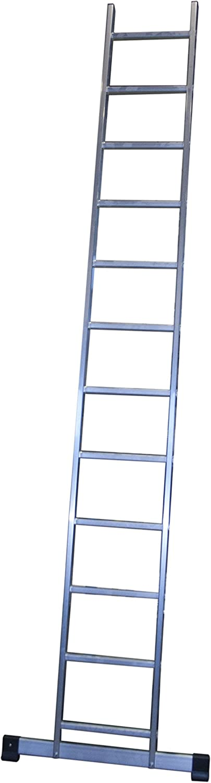 Escalera profesional de aluminio de apoyo simple con barra estabilizadora 12 peldaños serie basic: Amazon.es: Hogar