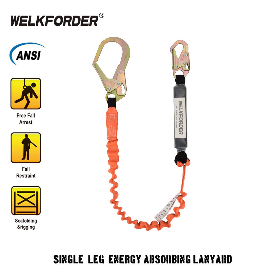 WELKFORDER Single Leg 6-Foot Fall Protection for Construction Shock Absorber Stretch Safety Lanyard with Snap & Rebar Hook Connectors ANSI Z359.13-2013 Complaint by WELKFORDER (Image #3)