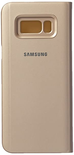 brand new 36b4a 2f351 Samsung EF-ZG955CFEG Clear View Standing Cover Flip Case for Galaxy S8+,  Gold