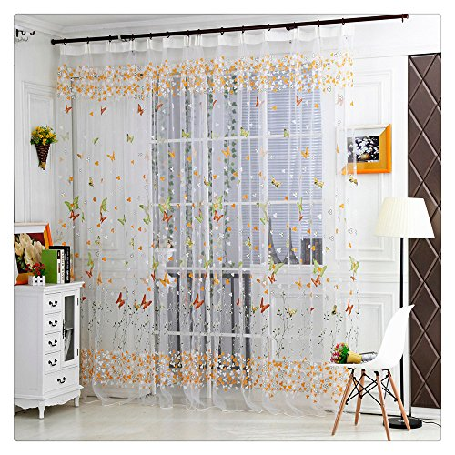 2017 New! Litetao Butterfly Sheer Curtain Tulle Window Treatment Voile Drape Valance For Bedroom/Living Room/Office/Study Room (Voile Tour Light)