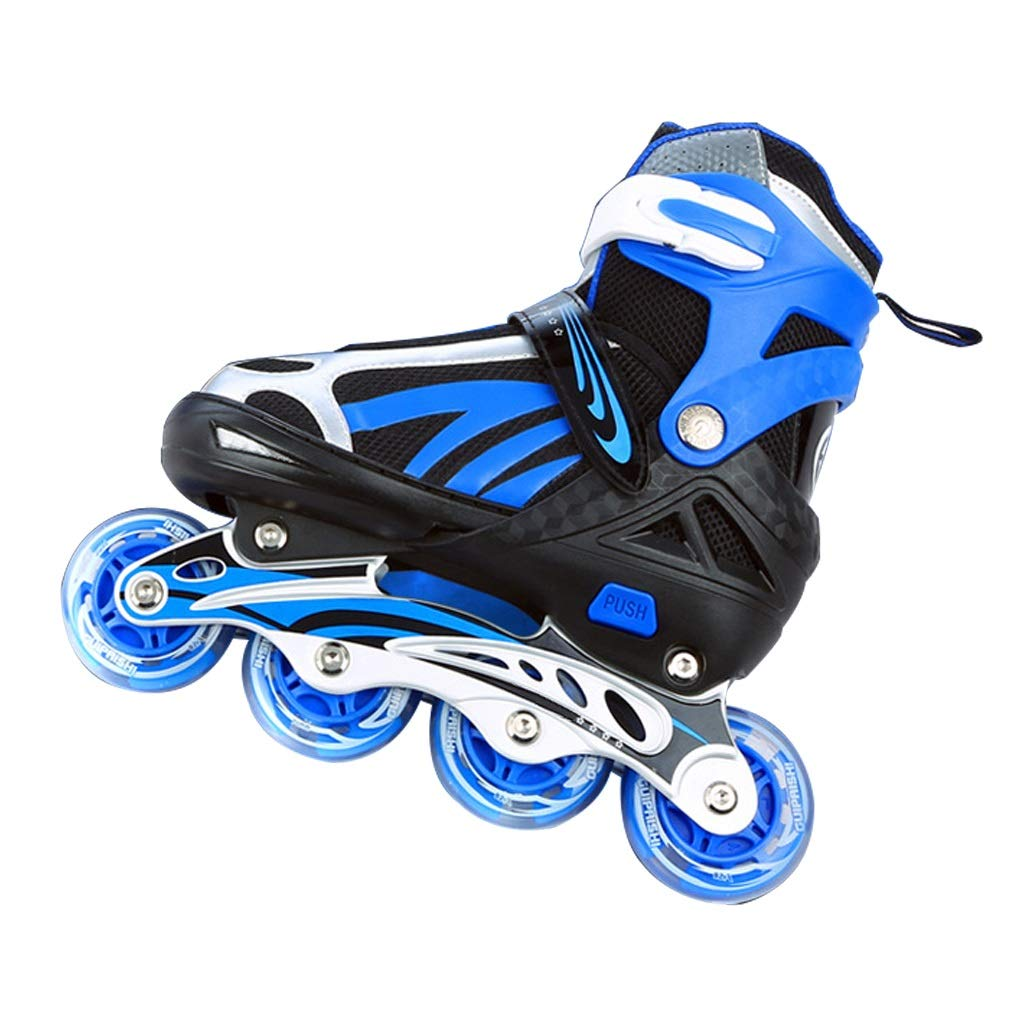 YANGXIAOYU Adult Beginners Children's Inline Skates, Professional Roller Shoes, Anti-Collision Shock All Flash Wheel, Blue Red Pink (Color : Blue, Size : 34-38)