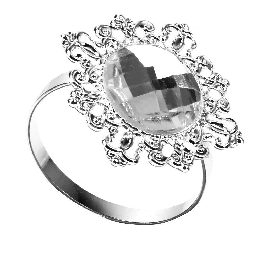 LooBooShop 12 Pieces Napkin Rings Napkin Holder Wedding Banquet Dinner Decor Silver