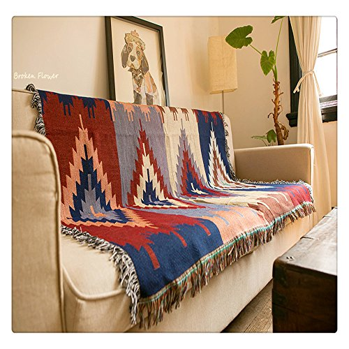 Tapestry KILIM rugs Navajo Aztec geometric tribal ethnic decor afghan cotton woven blanket ethnic wall hangings ()