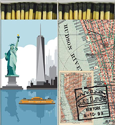 Decorative Match Boxes New York Graphic and Map with Long Kitchen Matches Great for Lighting Candles, Grills, Fireplaces and More | Set of 2 Large Match -