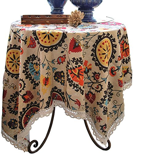 Aothpher 24x24 Inches Modern Boho Floral Jacquard Washable Small Tablecloths with Lace for Dining Table (End Cover Table)