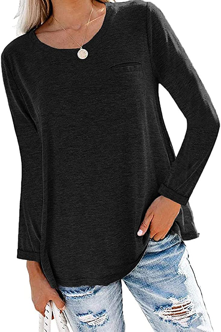 Fronage Womens Long Sleeve Shirts Casual Roll Up Loose Fitting Tunic Tops with Pocket