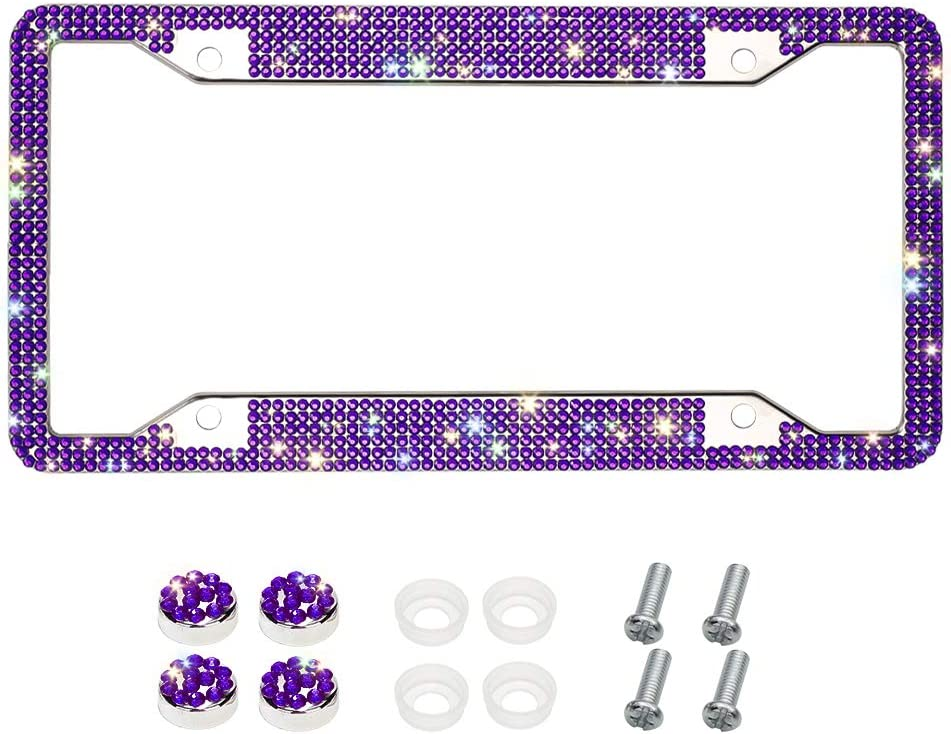 Handcrafted 6 Rows Shiny Rhinestones Stainless Steel 4 Holes License Plate Frame with Anti-Theft Screws Caps Set Hot Pink Otostar Bling License Plate Frame