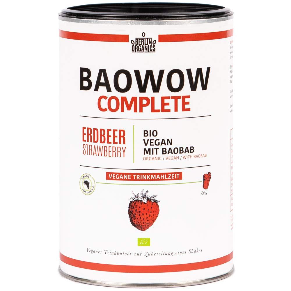 Berlin Organics baowow Complete Fresa sabor - 10 Deliciosos bio de comidas como tipos - veganas Shake - Polvo mezcla - Flüssiges cereales - Ideal como ...