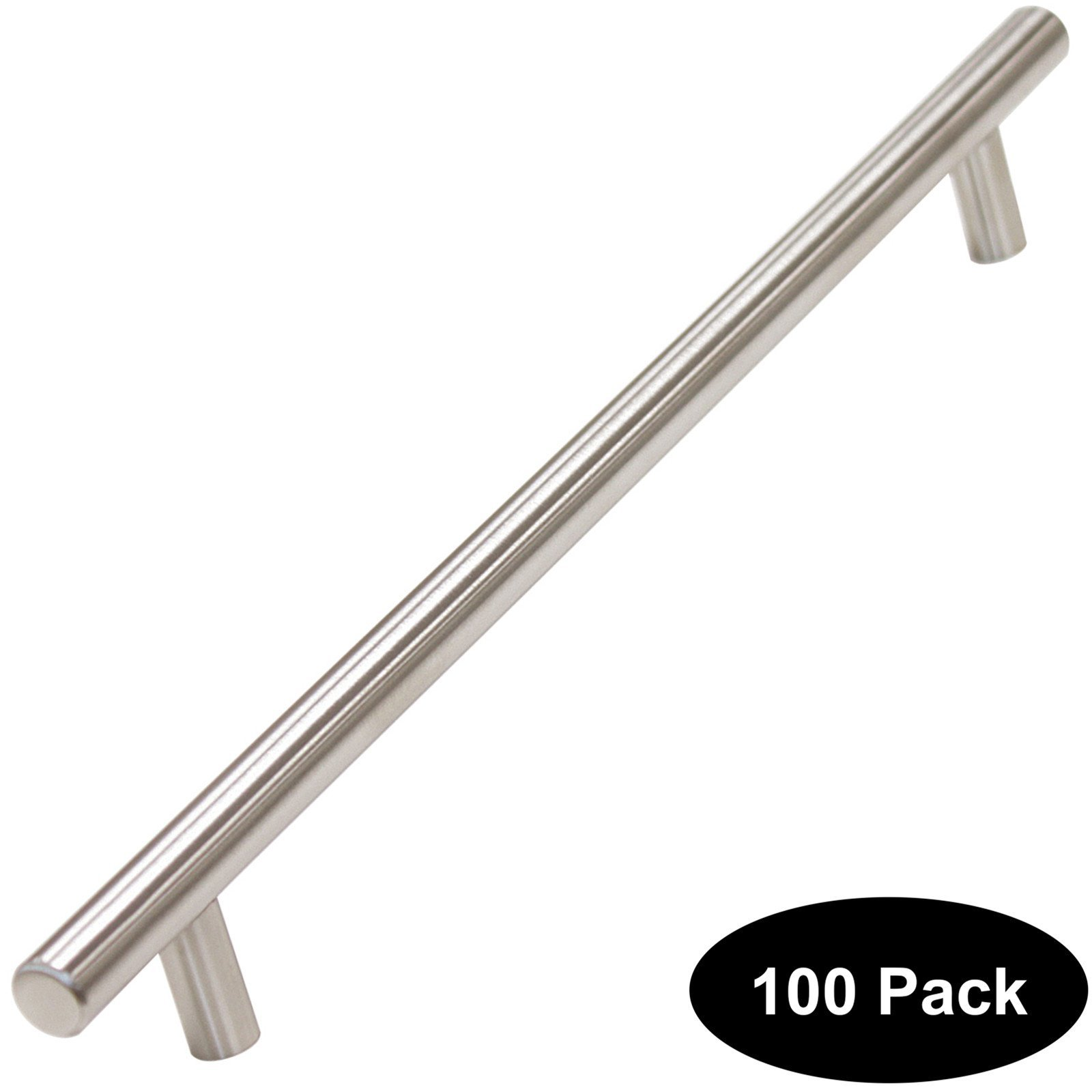100 pack 256mm(10inch) Hole Centers Stainless Steel Kitchen Cabinet Door Handles and Pulls Cabinet Knobs Length 320mm(12.8inch) Brushed Nickel