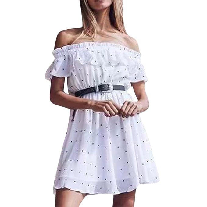 f0792e0442 kingko Damen Bohemian Blumendruck Schulterfrei Knielang Strandkleid Schwarz  Weiß Sommerkleid Frauen Casual Mini Strandkleider: Amazon.de: Bekleidung