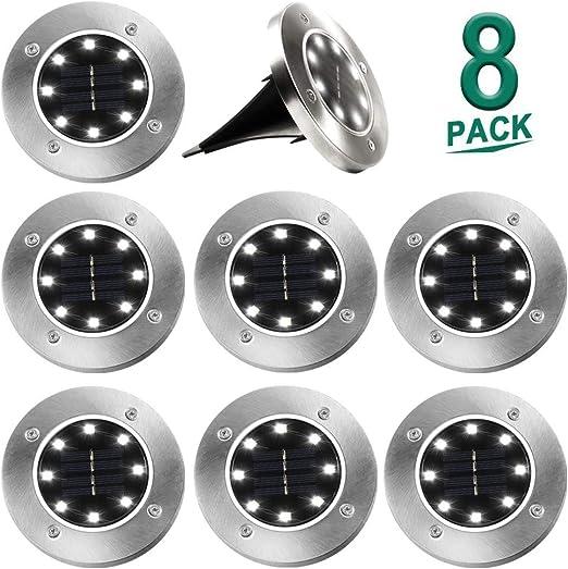 Luces Solares para Jardín, 8 Luces de Jardín LED, Impermeable y Brillante Redondo Blanco Foco de Suelo con luz Solar: Amazon.es: Iluminación