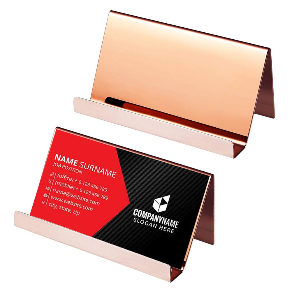 2 Pack Stainless Steel Business Card Holder, Cooyeah Professional Mirror Polish Desktop Display Card Rack Organizer for Office Business (Bright Rose Gold)