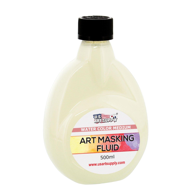 U.S. Art Supply Art Masking Fluid, 500 ml (16.9 oz) Bottle - Artist Drawing Gum Liquid Frisket Mask - Watercolor Medium