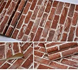 Akea Flat Faux Brick Stone Wallpaper Roll 3D Effect Blocks Vintage Home Decoration Multi Countryside Red