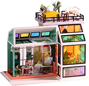 DIY Dollhouse Miniature Kit Wooden Creative Room with Furniture Multicolour Window Mini Doll House Building Kit Led Light Dust Cover Music Box 1:24 Scale House Kit for Adults Girls Birthday Gift Toy