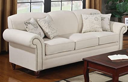 Genial Coaster 502511 Norah Rolled Arm Sofa In Oatmeal Tone Linen Blend Upholstery