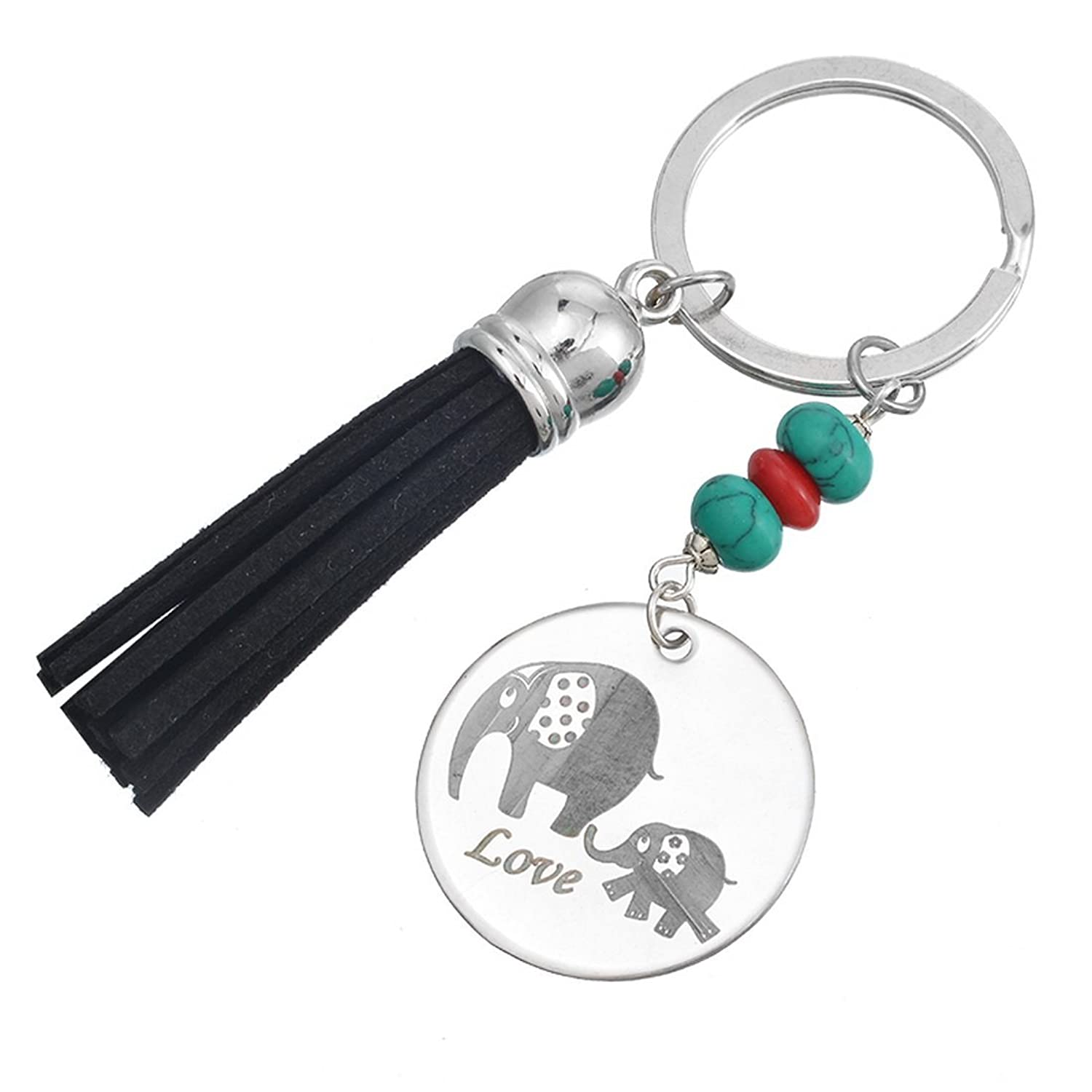 MJARTORIA Baby and Mum Elephant Engraved Dangling Fringe Beads Key Ring
