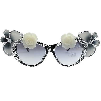 Gafas de sol de flores rosas góticas de la rosa blanca y de ...